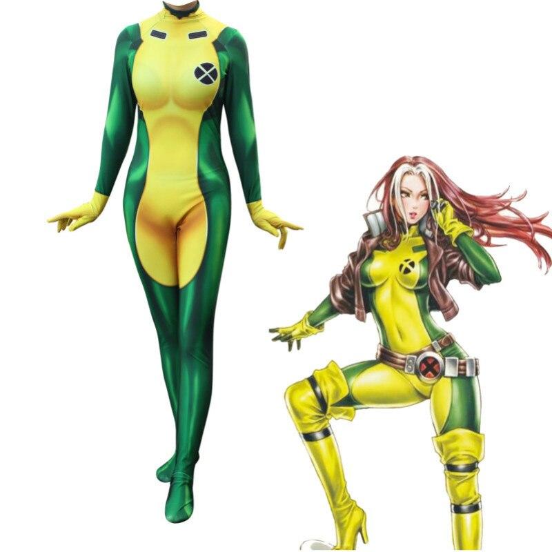 X-Men Rogue Cosplay Costume Lycra Spandex Sexy Catsuit Zentai Halloween Xmen Costumes