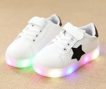 2018  autumn & winter LED brand fashion boys& girls sneaker little kids child star design casual leather shoes with shipping