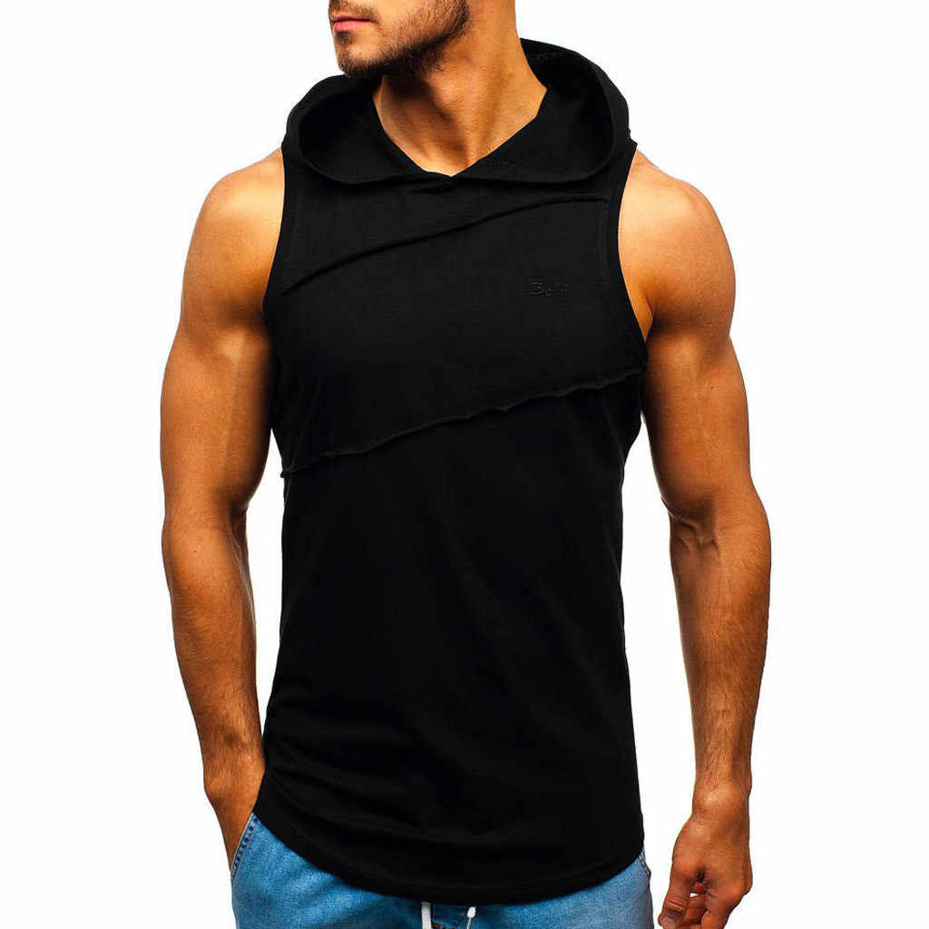 Mannen gym tank top Casual bodybuilding gym kleding mannen tank top Hooded Gestreepte Patchwork Mouwloos Vest regata masculina
