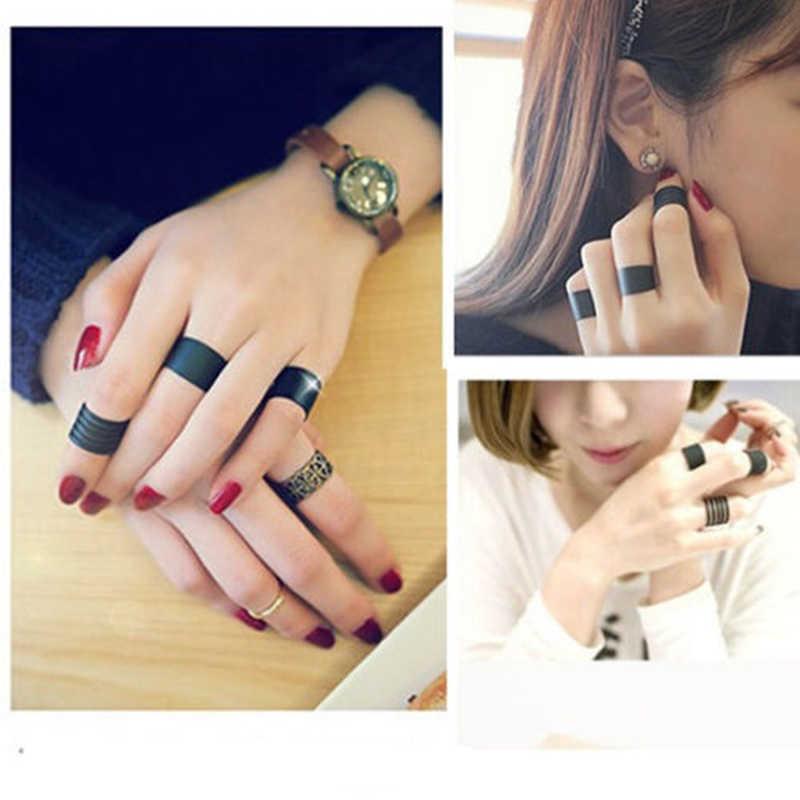 Stack Plain Knuckle แหวนเครื่องประดับแหวนเปิดสีดำวง Midi แหวนอินเทรนด์