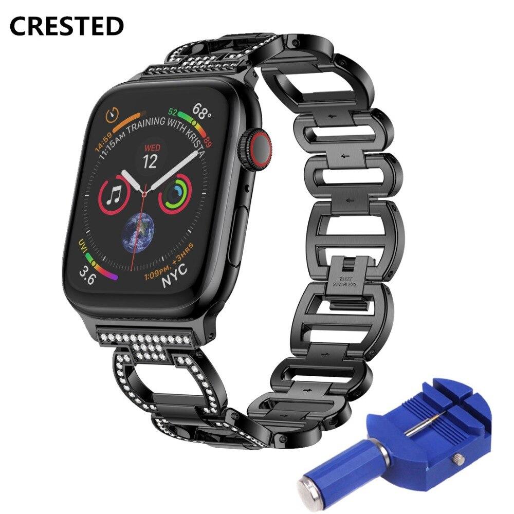 CRESTED de diamante de acero inoxidable correa de reloj para Apple 4 banda de 44mm/40mm correa iWatch Serie 3 2 1 42mm/38mm pulsera de muñeca Correa