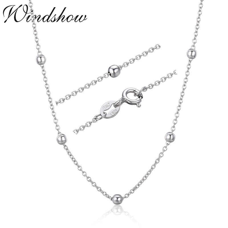 925 Sterling Silver Cross Beaded Chain Choker Necklaces Women Girls 40cm 45cm Jewelry kolye collares collane collier ketting