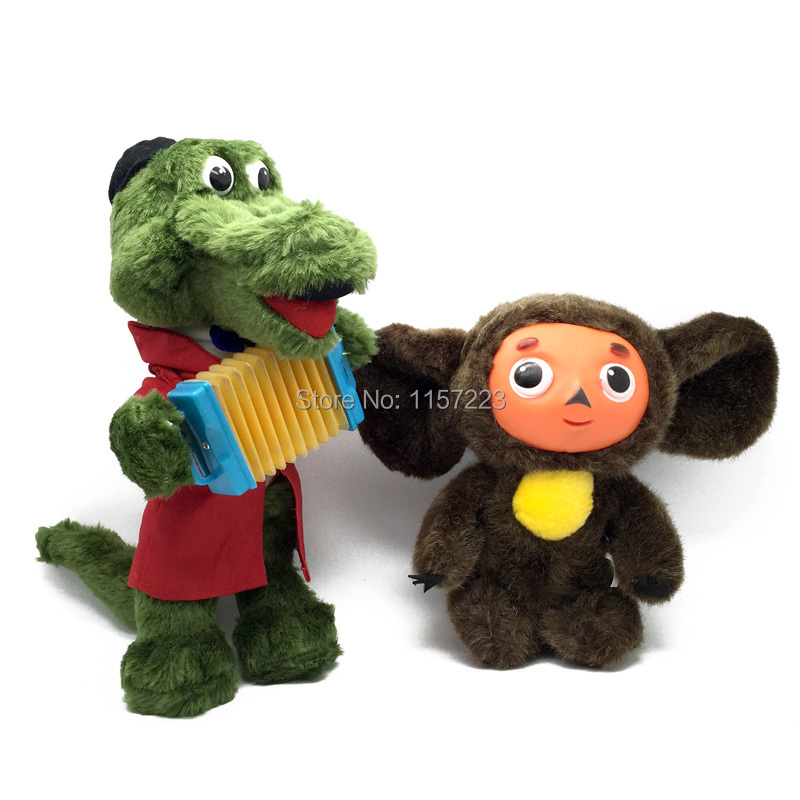 Russian Language Movie Cheburashka and Gena Crocodile Electronic Toys Dolls Cute Stuffed & Plush Animals Toy Gift For Kids 30cm mickey mouse and minnie mouse toys soft toy stuffed animals plush toy dolls