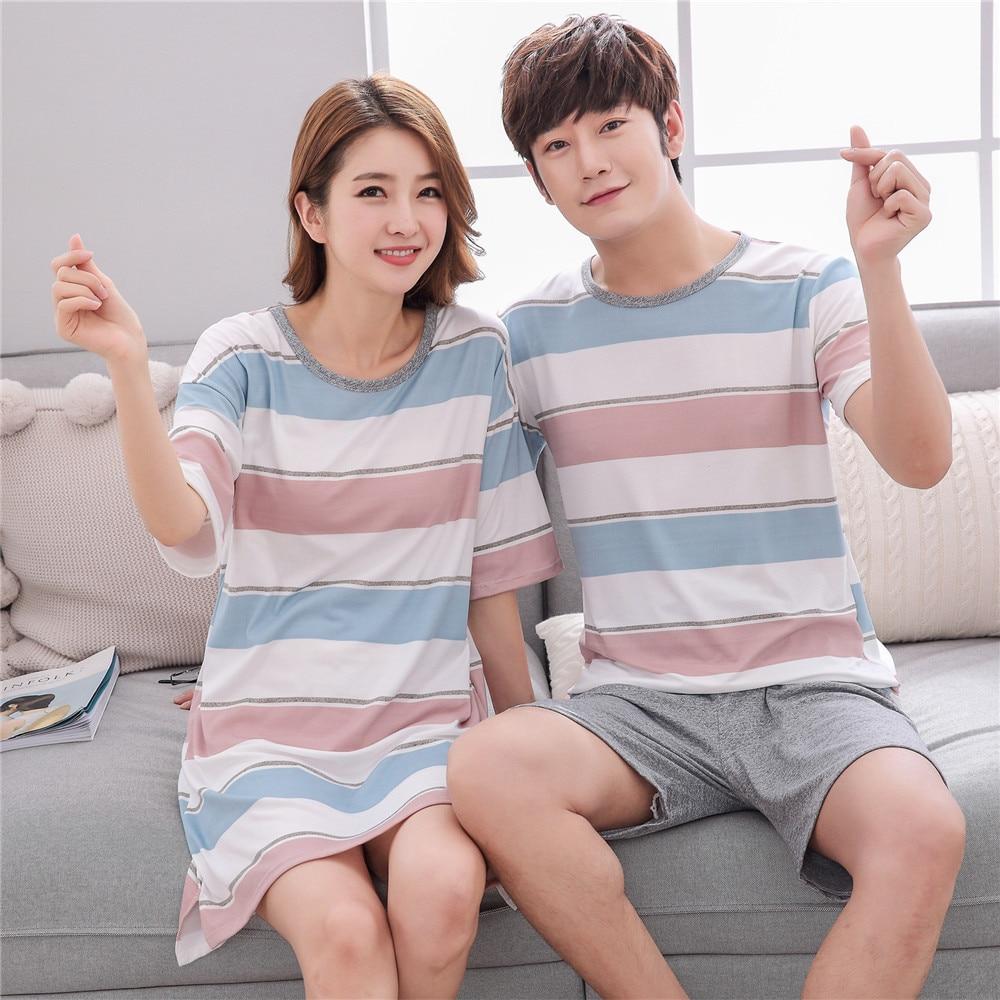 Womens Pajamas Sets Cartoon Couple Men Pajama Set Short Sleeve Cartoons Woman Nightgowns Indoor Clothing Pyjamas Women Sleepwear