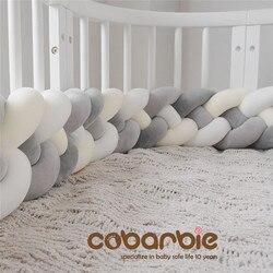 220 см длина увеличивающая рост детская плетеная кроватка бамперы 4 полосы Узел Длинная Подушка, детские постельные принадлежности, кроватка...