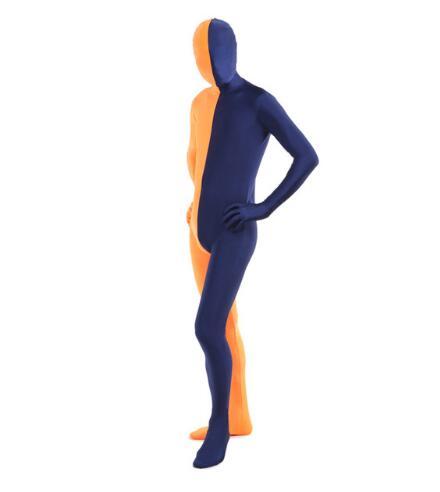 Maillot de seconde peau en Lycra Zentai Orange et bleu