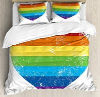 Duvet Cover Set, Heart Shape with LGBT Flag Design Gay Pride Themed Image with Retro Effect, 4 Piece Bedding Set