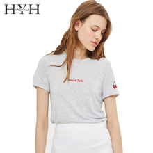 HYH Haoyihui 2018 Summer New T-Shirt Preppy Style O-Neck Short Sleeve Cherry Embroidery Letter Brief Solid Color Casual