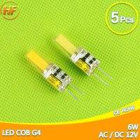 5 sztuk G4 AC/DC 12 V AC 220 V KOLBY DOPROWADZIŁY Żarówki 6 W LED G4 COB LED Light Bulb Spotlight Żyrandol lampy Kryształowe Lampada ACDC