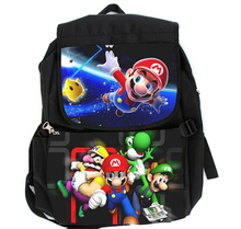 Super Mario Brother Characters Black Canvas Shoulder Bag Middle Size Student Backpack with Laptop Sleeve