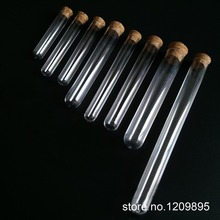 100PCS/Pack 13*78mm 6ml Round Bottom Plastic Test Tube with Cork Hard Transparent Packing Vial lab Free Shipping