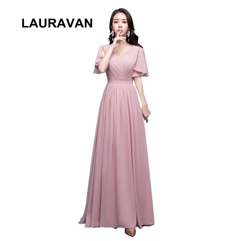 cheap long elegant blush dusty pink modest a-line formal lace up back chiffon v neck capped   bridesmaid     dresses   2019 party   dress