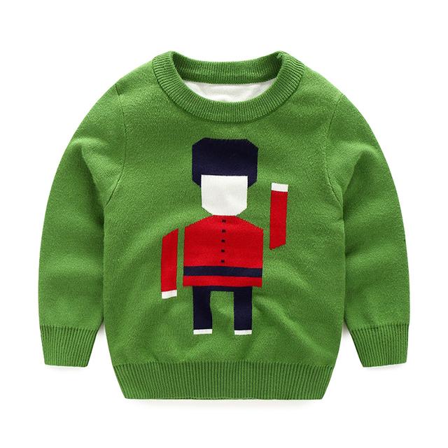 2016 Otoño Moda Infantil Ropa Niños Bebés Robot de Cuello Redondo de Manga Larga Suéter Del Suéter Envío Gratis 0772