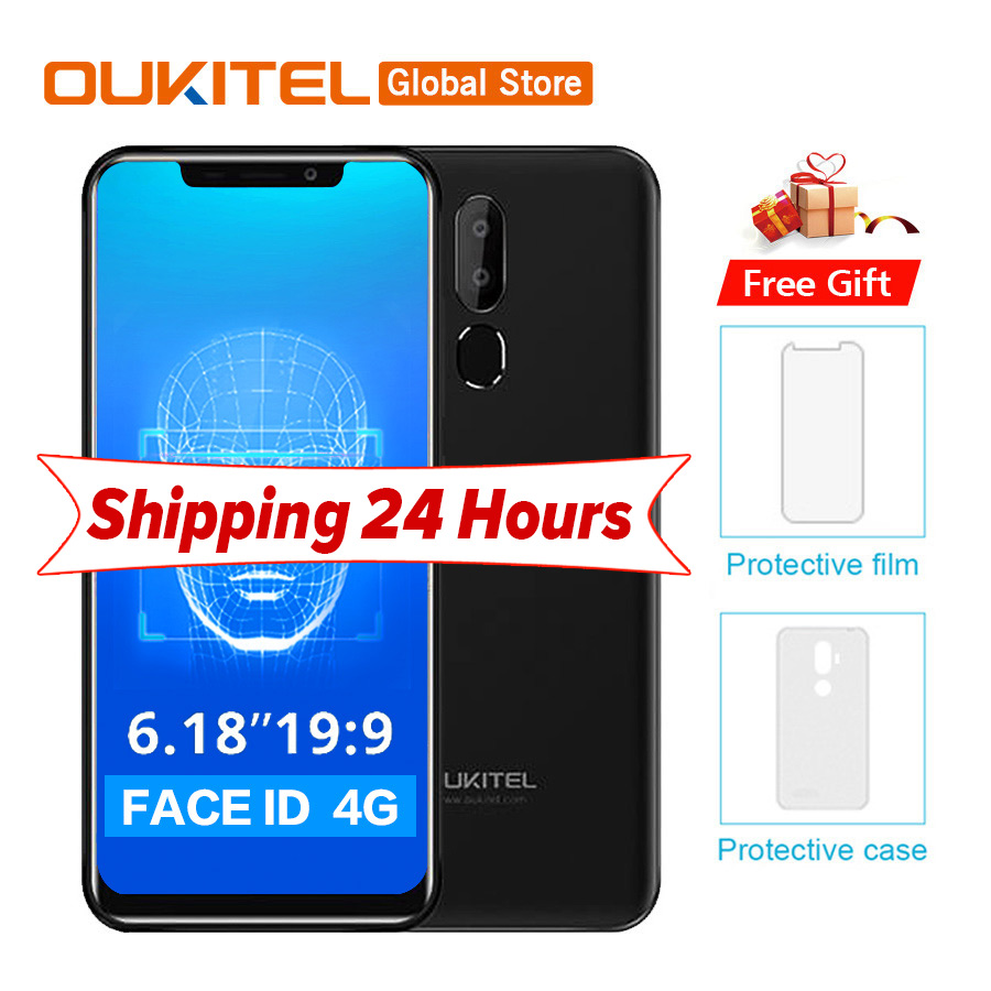"Oukitel C12 Pro 4g 6.18""19:9 Android 8.1 Face Id 3300mah Mt6739 Quad Core 2gb Ram 16gb Rom 8mp+5mp Fingerprint Mobile Phone"