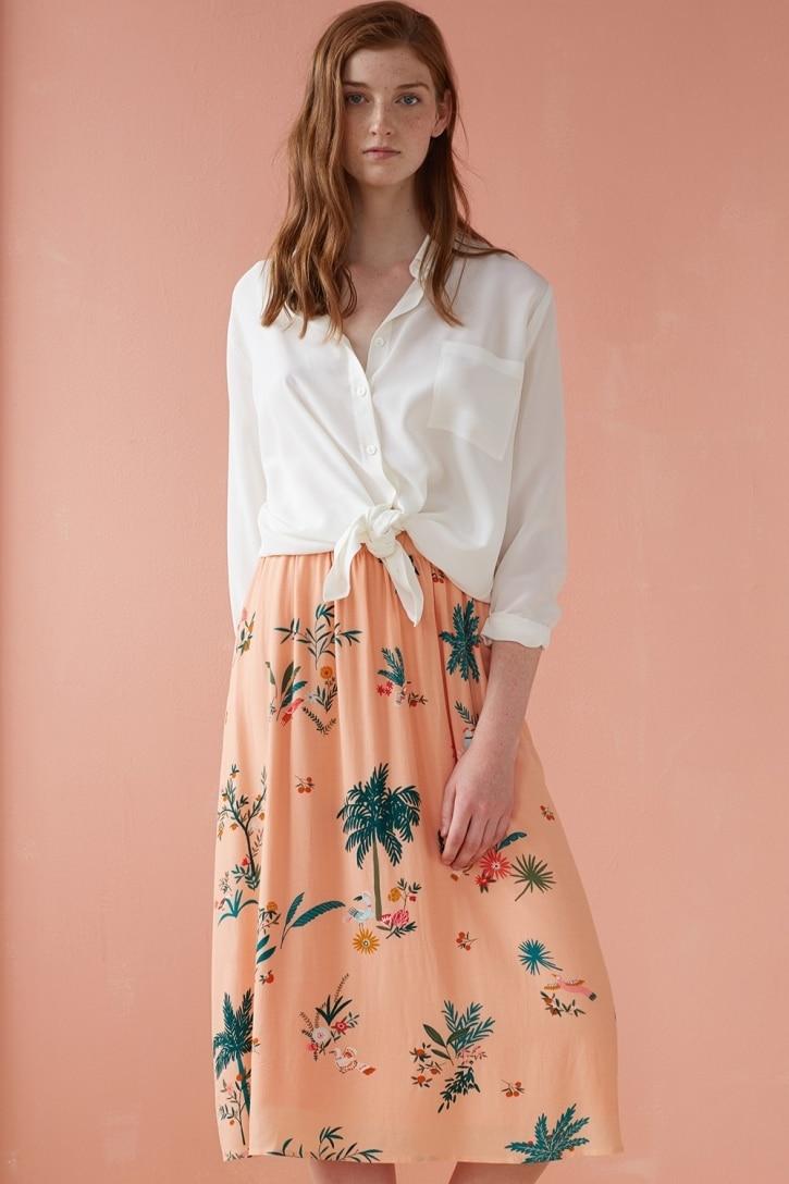 2019 Новая женская розовая юбка с цветочным принтом, свежая Милая юбка миди - 3