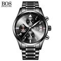 ANGELA BOS Chronograph Timers Sport Military Watch Mens Cool Black Luminous Calendar Date Stainless Steel Men Watch Luxury Brand