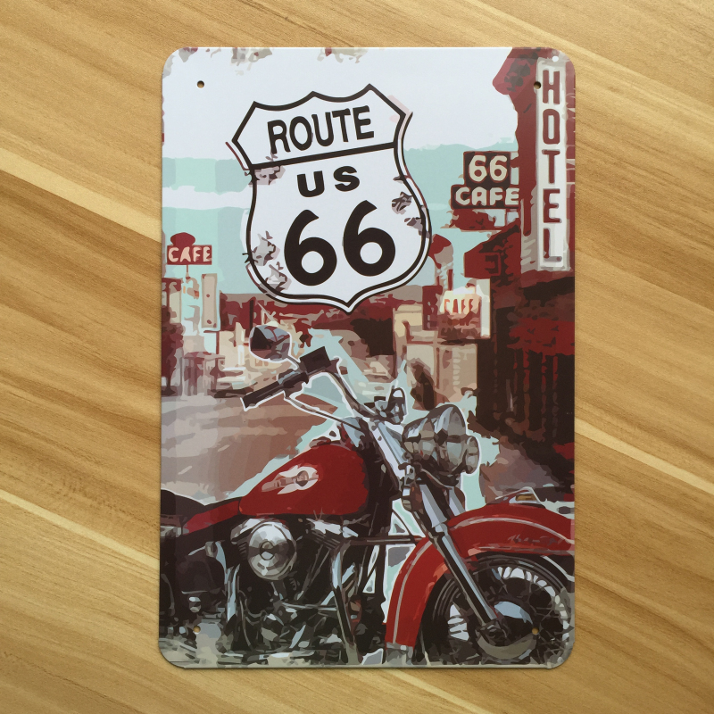 Wall art decor vintage garage poster route 66 moto for Decoration 66