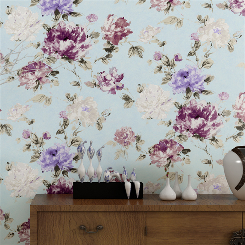 3D Flower Wallpaper Leaf Vintage Living Room Non Woven Wall Paper Chinese Style Garden Bedroom Peony Retro Home TV Background In Wallpapers From