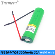 original us18650vtc6 vtc6 30a 18650 3000mah battery welding wire for battery screwdriver rechargeable battery pack