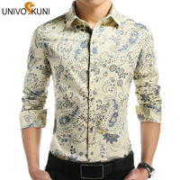 Plus Size 4XL 5XL Floral Print Shirts 2016 New Spring Autumn Brand Men Cotton Causal Shirts