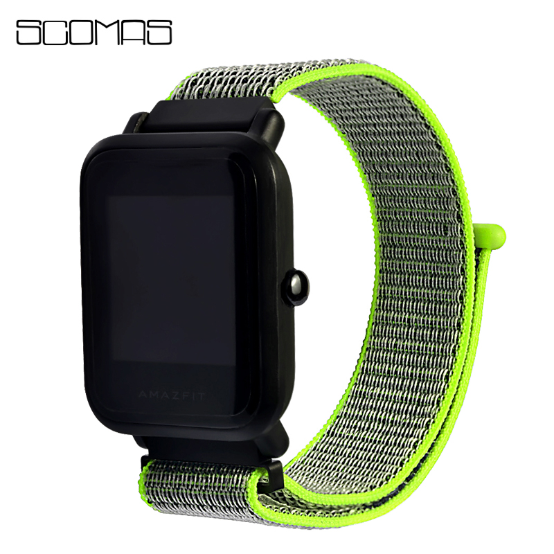 SCOMAS 20MM Loop Nylon Replacement Strap for Huami AMAZFIT BIP Watch Band Correa for Xiaomi Huami Amazfit Bit Youth Smart Watch