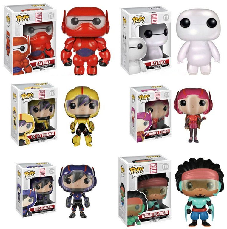 Funko Pop Baymax <font><b>Big</b></font> <font><b>Hero</b></font> <font><b>6</b></font> Baymax Q Versions Baymax/Fred/ <font><b>Go</b></font> <font><b>Go</b></font> <font><b>Tomago</b></font>/Honey lemon/Wasabi <font><b>Action</b></font> <font><b>Figure</b></font> Collection Model Toy