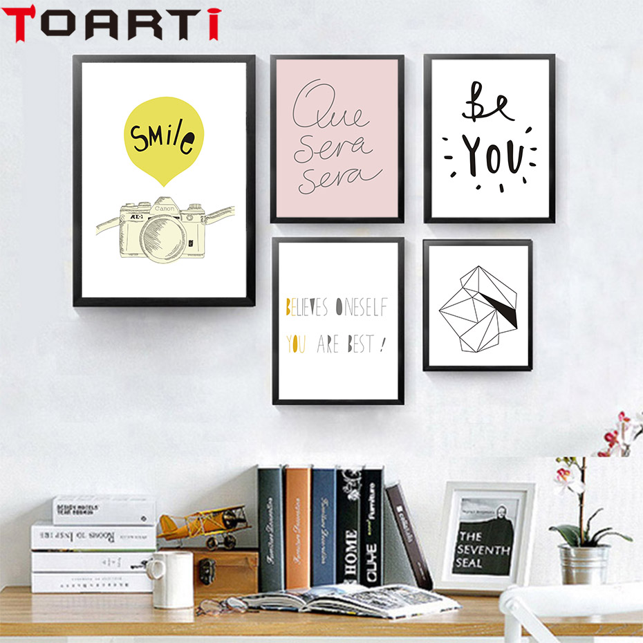 Creative Text Family Smile Camera Various Line Shapes Diamond Canvas Painting Posters Wall Pictures For Living Room Home Decor in Painting Calligraphy from Home Garden