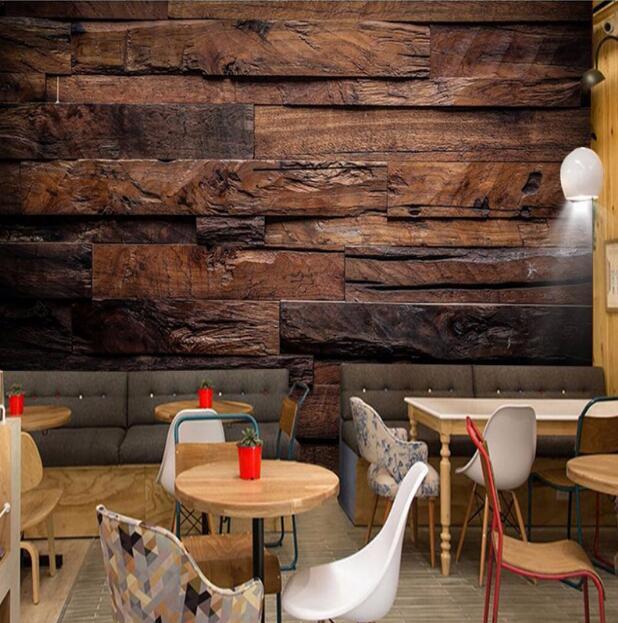 Murais de Parede personalizado Grande Pintura de Parede Retro Nostálgico de Madeira Painéis de Parede De Madeira Da Grão Papel De Parede Mural De Parede 3D Para Paredes