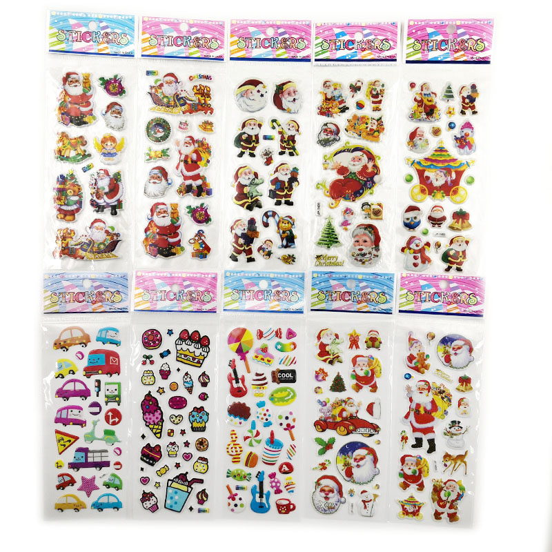 10Sheets Different 3D Cute Anime Stickers Toys Funny Toy For Children On Diary Phone Laptop Santa