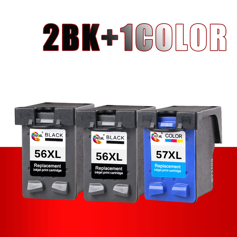 2BK+1Color 56XL 57XL for HP 56 57 Ink cartridge ( C6656A & C6657A ) use For HP Deskjet 450CI 5550 5552 7150 7350 7000 2100 2200