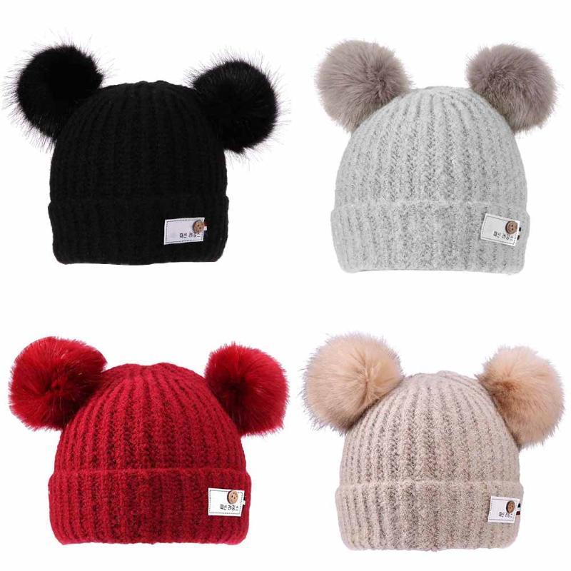 Fashion Kids Baby Thickening Double Ball Hat Warm Winter Knit Beanie Cap Kids Winter Warm Thicken Beanie Hat Caps