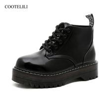 Купить с кэшбэком COOTELILI Plus Size Platform Boots Patent Leather Shoes Women Autumn Winter Ankle Boots For Women Gladiator Shoes Ladies 35-40