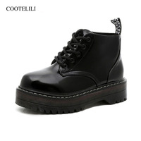 COOTELILI Plus Size Platform Boots Patent Leather Shoes Women Autumn Winter Ankle Boots For Women Gladiator Shoes Ladies 35 40