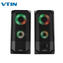 VTIN красочные огни компьютерный динамик 2.0RGB Динамик Сенсорный контроль свет портативный мини динамик супер стерео бас для домашнего воспроизведения