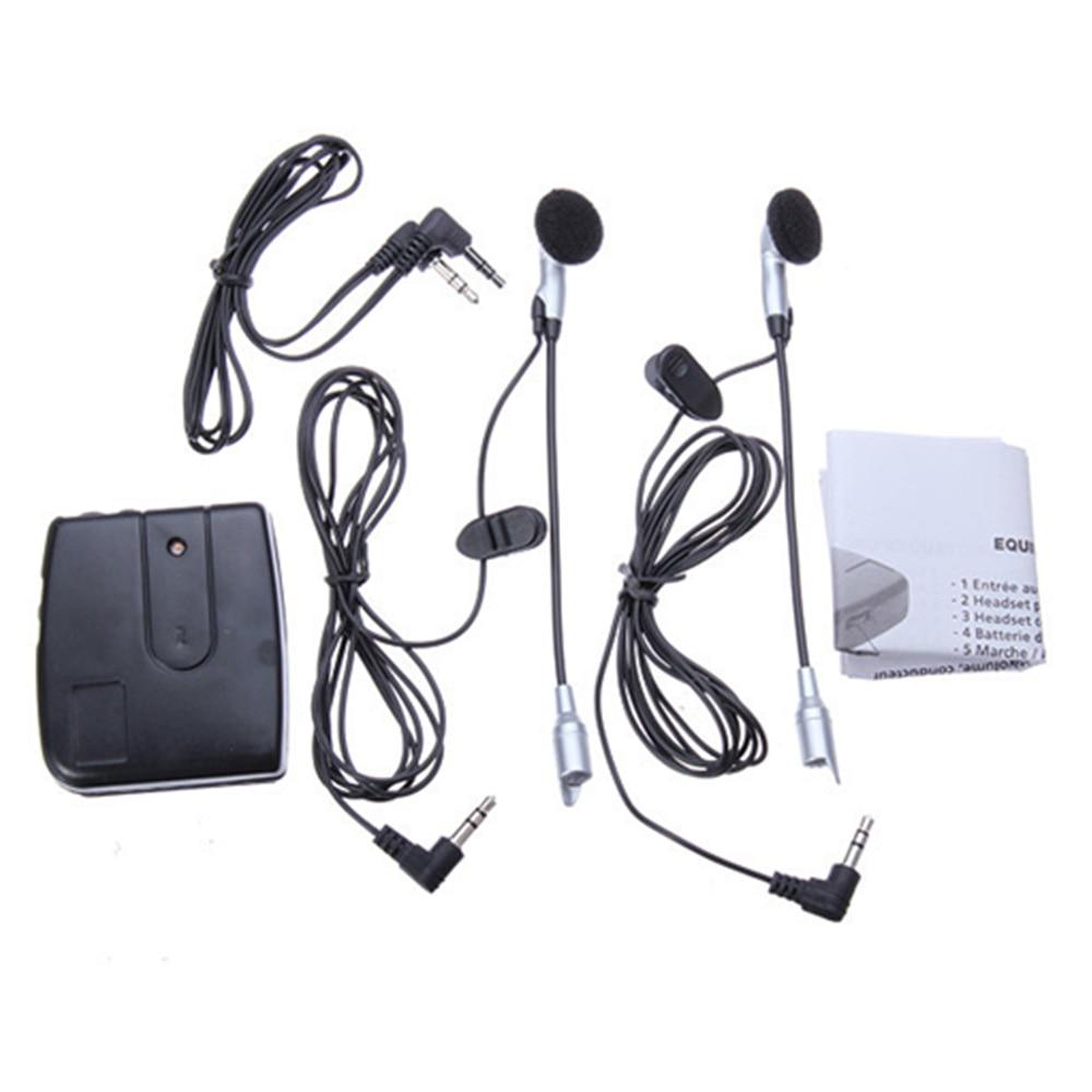 1 PAIR Motorcycle Helmet To Helmet Intercom Set 2 Headsets MP3 Input