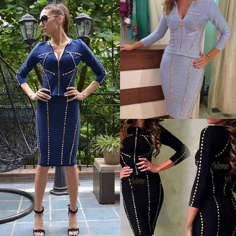 Kadın Giyim'ten Elbiseler'de 2018 Yeni Varış Zarif Iki Parçalı Mavi Uzun Kollu Rayon boncuk Kadın Vestidos Kış Elbise Parti Bandaj Elbiseler Toptan'da  Grup 1
