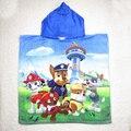 Perros de patrulla pata de bebé niños encapuchados algodón towel 60x120 cm towel hoodie hoody capa beach towel toallas de baño para los niños GYH