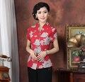Красная китайская женская одежда  хлопковые блузки  рубашки  топы  Размеры M  L  XL  XXL  XXXL  4XL  бесплатная доставка  T2331-A