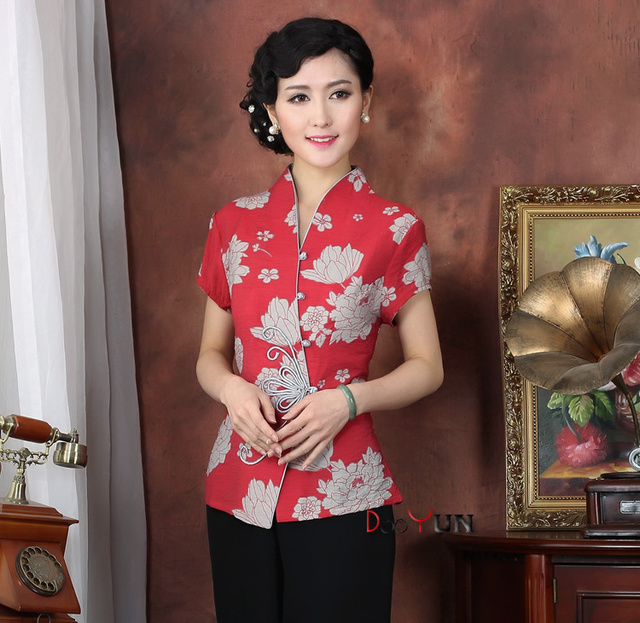 cdc77df7f257cd Red Chinese Women's clothing Cotton Blouses Shirt tops Size M L XL XXL XXXL  4XL Free Shipping T2331-A