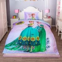 DISNEY Frozen Cartoon Bedding Sets 100% Cotton Pink Duvet Cover Sheet Set Single Queen Size Kids Beddings