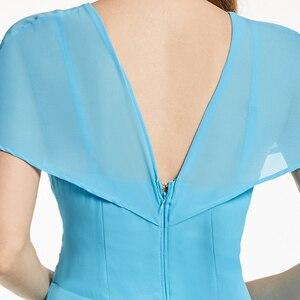 Image 5 - Robe de cocktail bleu glace, tenue courte à volants, col en v, sans manches, longueur genou, tenue courte, pour dames, accueil