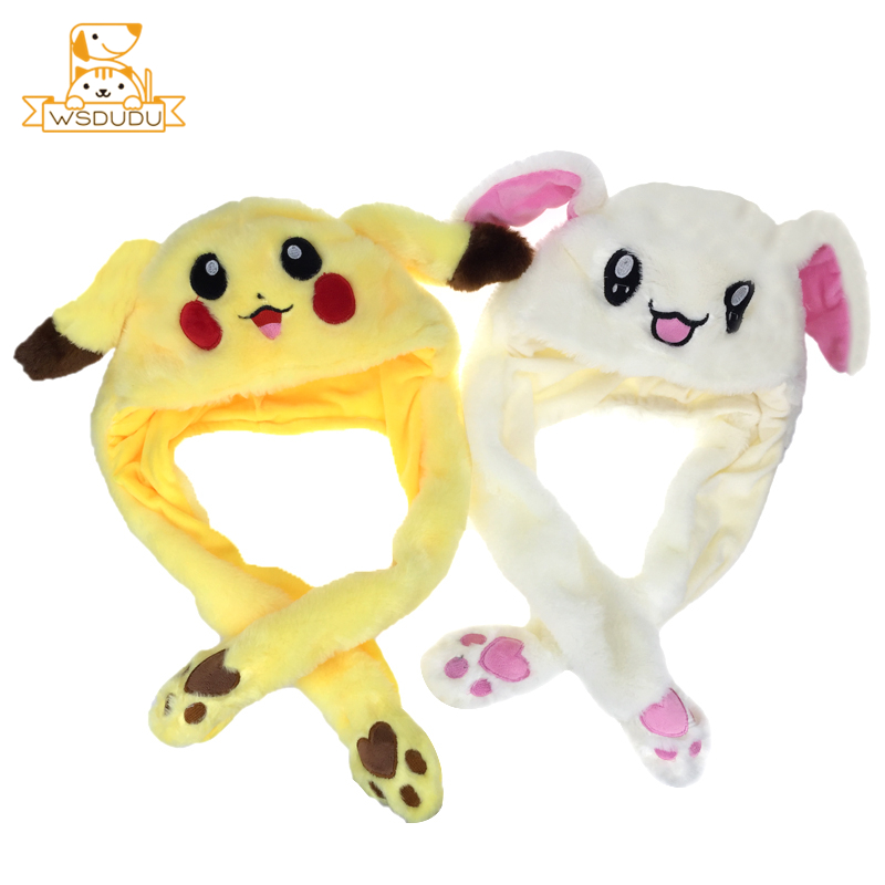 Cute Moving Animal Ears Cap Hat Rabbit Cat Dog Pikachu Elephant Pig Bunny Dolls Plush Stuffed Toys Kawaii Cartoon Live Girl Gift