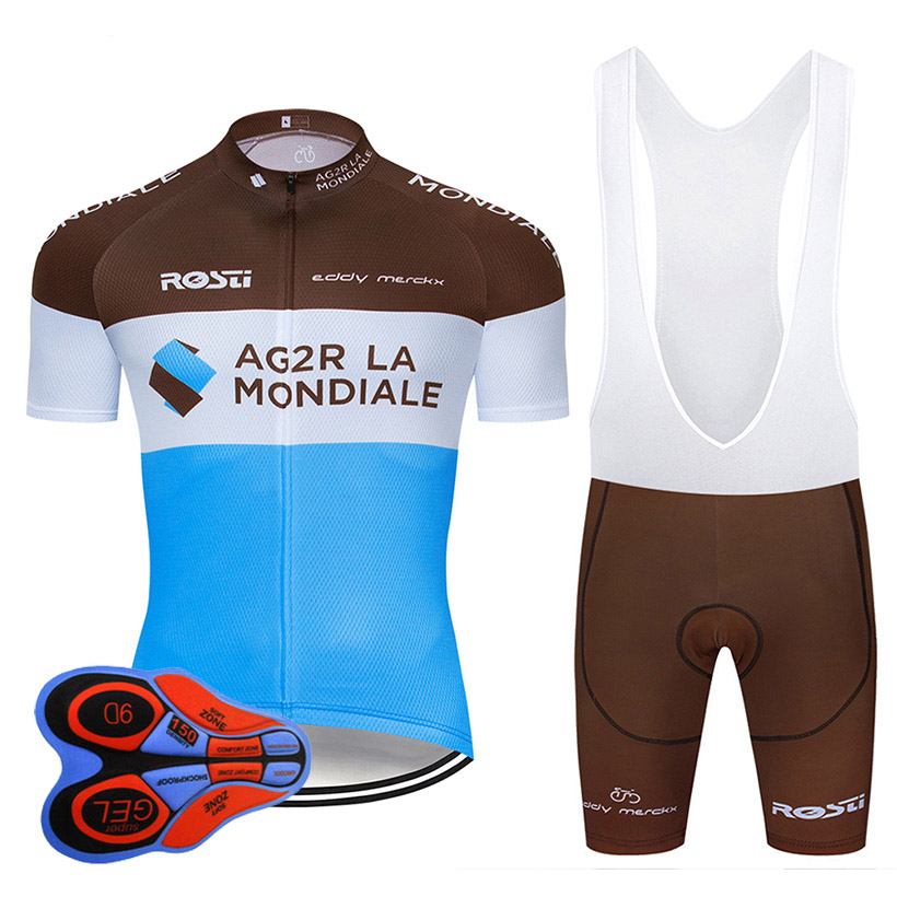2019 TEAM AG2R cycling jersey 9D gel bike shorts suit MTB Ropa Ciclismo mens summer bicycling Maillot culotte clothing in Cycling Sets from Sports Entertainment