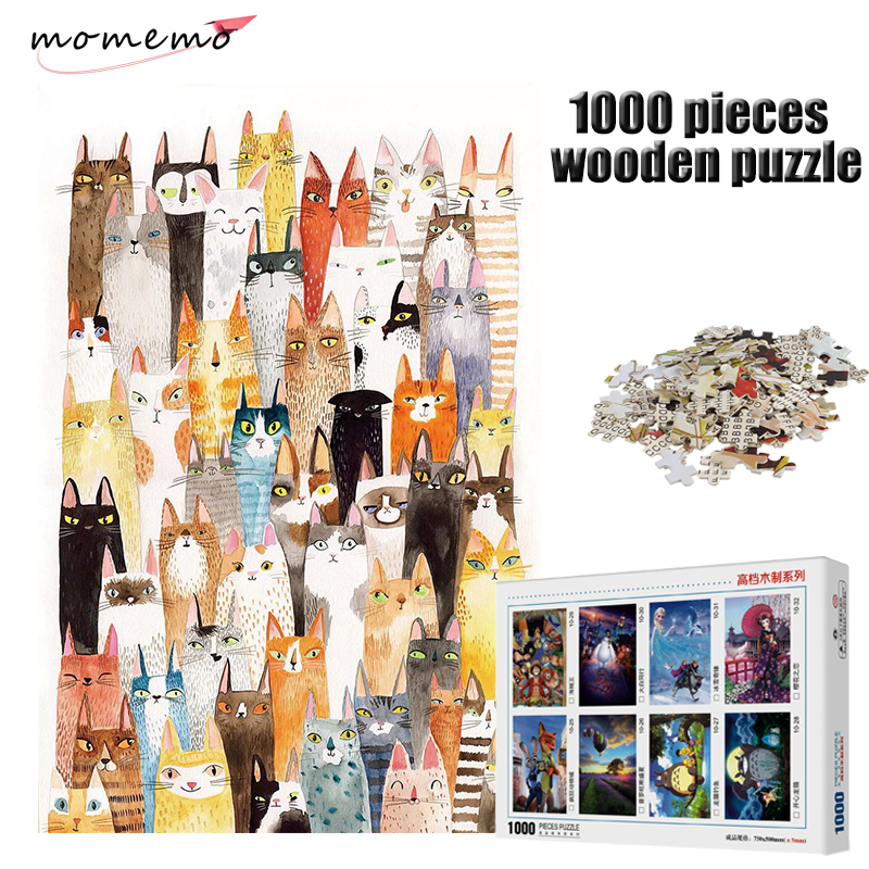 MOMEMO The Cats Jigsaw Puzzle Cartoon Pattern Puzzle 1000 Pieces Wooden Puzzle Adult Entertainment Puzzles Kids Educational Toys in Puzzles from Toys Hobbies