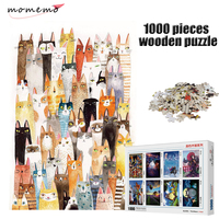 MOMEMO The Cats Jigsaw Puzzle Cartoon Pattern Puzzle 1000 Pieces Wooden Puzzle Adult Entertainment Puzzles Kids Educational Toys