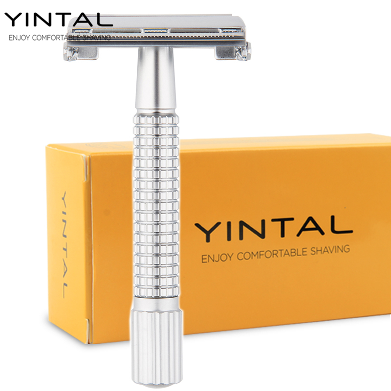 YINTAL Men Shaving Set Safety Razor Manual Shaver Scheermes Classic Face Care Rasoir Old Double Edge Razors #9306E razors for shaving men double edge razor bright brass blade replaceable chrome manual classic safety razor