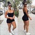 Las mujeres Del Verano Del Mono de Los Mamelucos Para Mujer Mono Atractivo Backless Negro Shorts Bodycon Buzos Ropa Americana combinaison femme