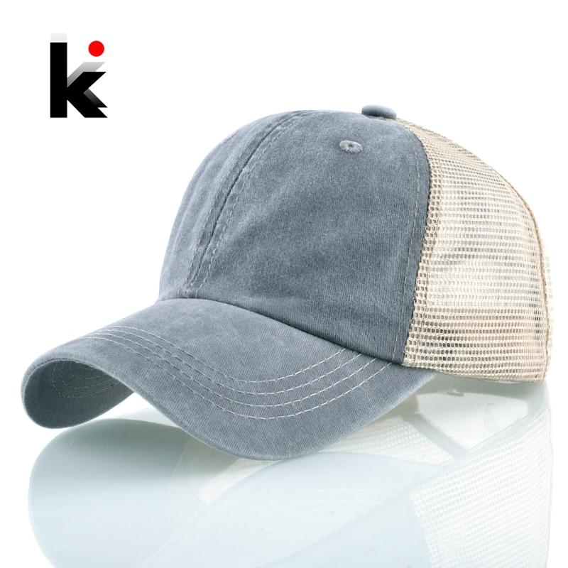 Snapback Denim   Baseball     Caps   Men Women Solid Color Sport Hats Spring Summer Outdoor Breathable Mesh Bones Fashion Hip Hop   Cap