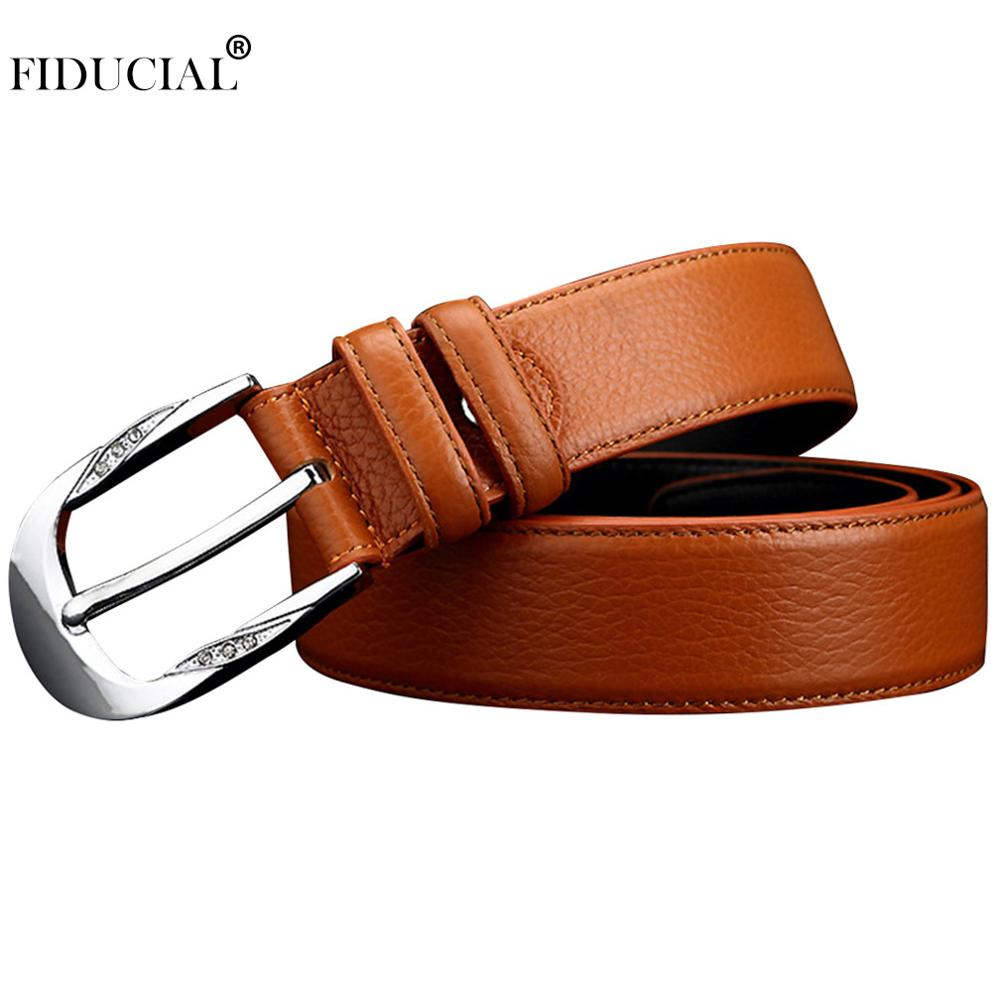 FIDUCIAL High Quality 1st Layer Cow Genuine Leather Belts Crystal Decorative Buckle Metal Metal Casual Belt Women 3.3cm FCO024