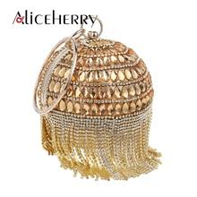 Round Ball Evening Bags Women Luxury Diamonds Day Clutch Circular Chain Bag Elegant Wedding Tassels Ring Cosmetics Purse Wallets